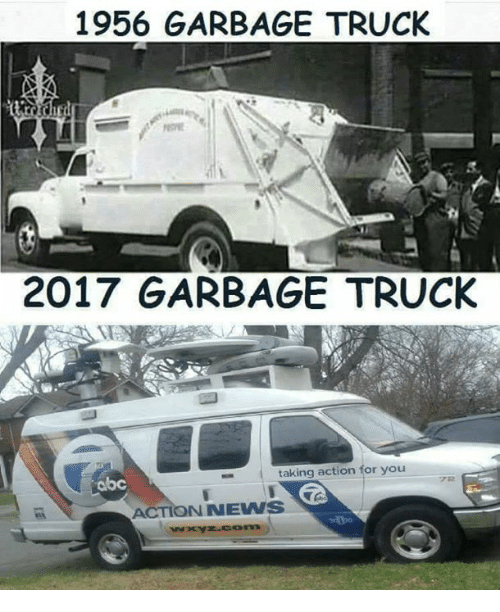 garbage truck: 1956 GARBAGE TRUCK  2017 GARBAGE TRUCK  abc  taking action for you  ACTIONNEWS
