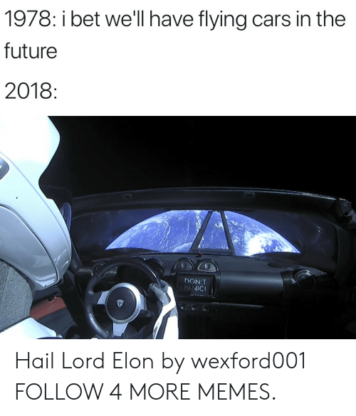 Bet Well Have Flying Cars: 1978: i bet we'll have flying cars in the  future  2018:  DON'T  PANIC! Hail Lord Elon by wexford001 FOLLOW 4 MORE MEMES.