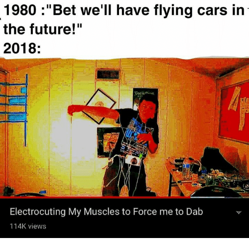 "Bet Well Have Flying Cars: 1980 :""Bet we'll have flying cars in  the future!""  2018:  God is rinid  Electrocuting My Muscles to Force me to Dab  114K views"