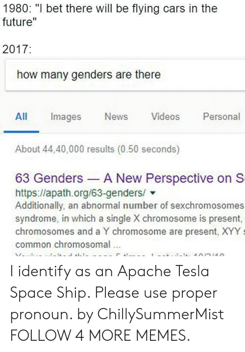 """Bet There: 1980: """"I bet there will be flying cars in the  future""""  2017:  how many genders are there  Personal  All  Images  News  Videos  About 44,40,000 results (0.50 seconds)  63 Genders A New Perspective on S  https://apath.org/63-genders/  Additionally, an abnormal number of sexchromosomes  syndrome, in which a single X chromosome is present,  chromosomes and a Y chromosome are present, XYY  common chromosomal  10/n110 I identify as an Apache Tesla Space Ship. Please use proper pronoun. by ChillySummerMist FOLLOW 4 MORE MEMES."""