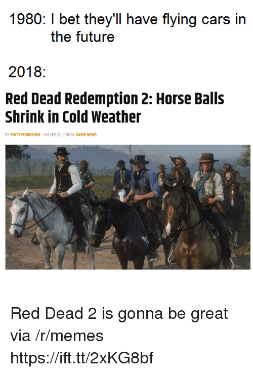 Cars, I Bet, and Memes: 1980: I bet they'll have flying cars in  the futuree  2018:  Red Dead Redemption 2: Horse Balls  Shrink in Cold Weather  BY MATT MORRISON-ON SEP 22, 2018 IN GAME NEWS Red Dead 2 is gonna be great via /r/memes https://ift.tt/2xKG8bf