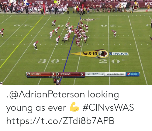 Memes, Washington Redskins, and Pepsi: 1982  1983  15:3  afltor thedakices  NFCC ON  SUPER BO CHA  10  1st & 10  INOVA  30  6 1st 9:07 16  pepsi  BENGALS  www.redskins.com  REDSKINS  TIMEOUTS .@AdrianPeterson looking young as ever 💪  #CINvsWAS https://t.co/ZTdi8b7APB