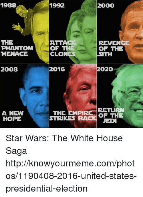 1988 the phantom menace 2008 a new hope 2000 1992 6579973 🇲🇽 25 best memes about jedies jedies memes,Star Wars Election Meme
