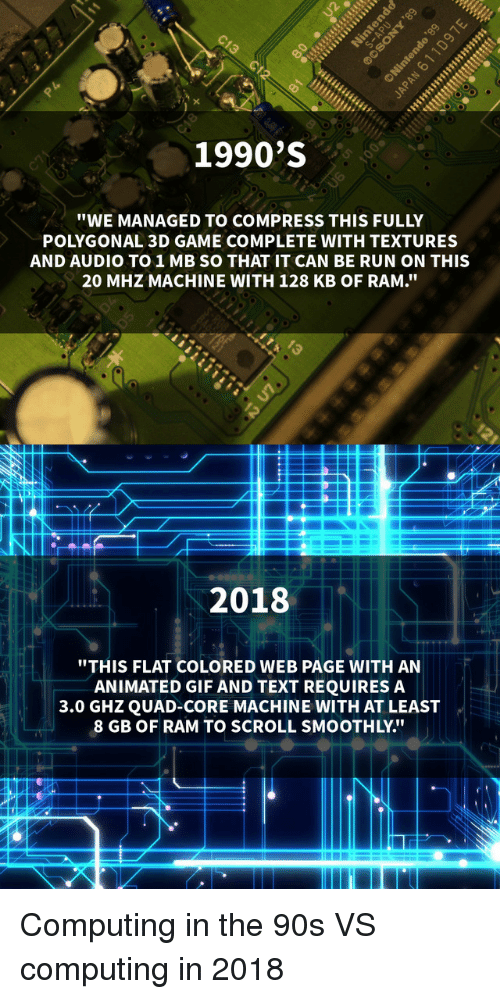"""textures: 1990'S  """"WE MANAGED TO COMPRESS THIS FULLY  POLYGONAL 3D GAME COMPLETE WITH TEXTURES  AND AUDIO TO1MB SO THAT IT CAN BE RUN ON THIS  20 MHZ MACHINE WITH 128 KB OF RAM.""""  2018  """"THIS FLAT COLORED WEB PAGE WITH AN  ANIMATED GIF AND TEXT REQUIRES A  3.0 GHZQUAD-CORE MACHINE WITH AT LEAST  8 GB OF RAM TO SCROLL SMOOTHLY."""" Computing in the 90s VS computing in 2018"""