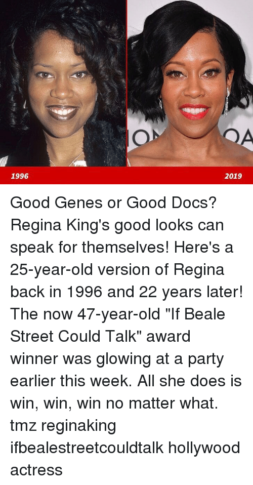 """win win: 1996  2019 Good Genes or Good Docs? Regina King's good looks can speak for themselves! Here's a 25-year-old version of Regina back in 1996 and 22 years later! The now 47-year-old """"If Beale Street Could Talk"""" award winner was glowing at a party earlier this week. All she does is win, win, win no matter what. tmz reginaking ifbealestreetcouldtalk hollywood actress"""