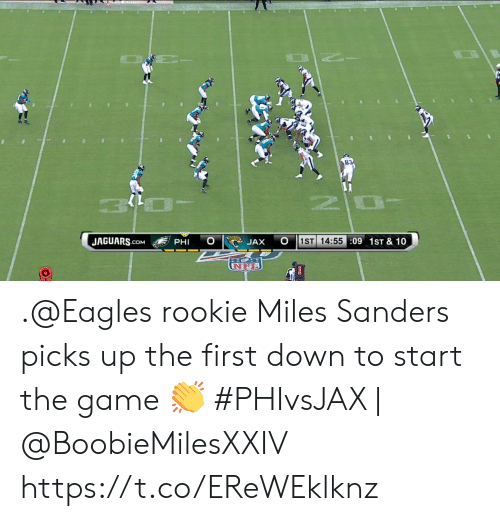 Philadelphia Eagles, Memes, and The Game: 1ST 14:55:09 1ST & 10  JAGUARS.COM  PHI  JAX  UNFL .@Eagles rookie Miles Sanders picks up the first down to start the game 👏  #PHIvsJAX   @BoobieMilesXXIV https://t.co/EReWEklknz