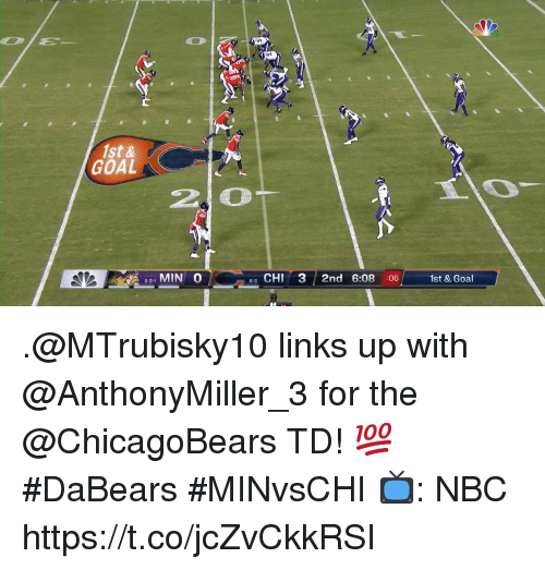 Memes, Goal, and 🤖: 1st &  GOAL  2 0  5-31 MIN 0  63 CHI 3 2nd 6:08 :06  1st & Goal .@MTrubisky10 links up with @AnthonyMiller_3 for the @ChicagoBears TD! 💯  #DaBears #MINvsCHI  📺: NBC https://t.co/jcZvCkkRSI