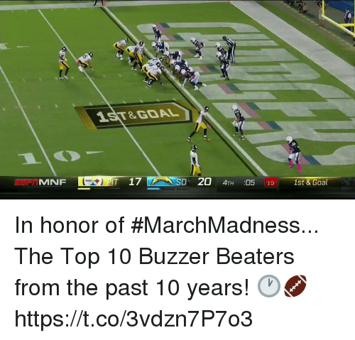 buzzer: 1ST&GOAL  MNF  T 17  D 20 4TH :05 15 1st & Goal In honor of #MarchMadness...  The Top 10 Buzzer Beaters from the past 10 years! 🕐🏈 https://t.co/3vdzn7P7o3