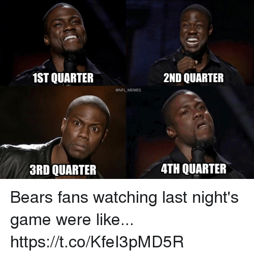 Memes, Nfl, and Bears: 1ST QUARTER  2ND QUARTER  @NFL MEMES  3RD QUARTER  4TH QUARTER Bears fans watching last night's game were like... https://t.co/KfeI3pMD5R