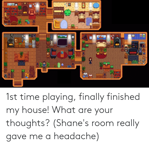 headache: 1st time playing, finally finished my house! What are your thoughts? (Shane's room really gave me a headache)