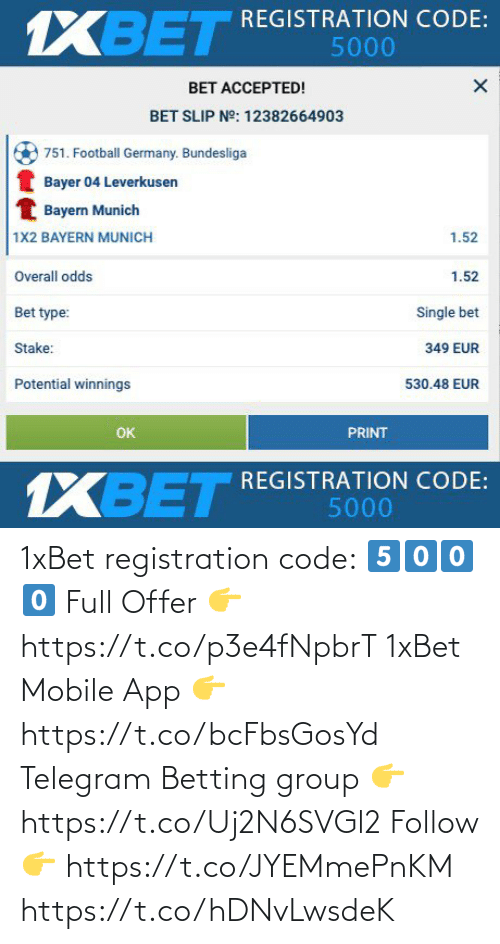 app: 1xBet registration code:   5⃣0⃣0⃣0⃣  Full Offer 👉 https://t.co/p3e4fNpbrT  1xBet Mobile App 👉 https://t.co/bcFbsGosYd  Telegram Betting group 👉 https://t.co/Uj2N6SVGl2  Follow 👉 https://t.co/JYEMmePnKM https://t.co/hDNvLwsdeK