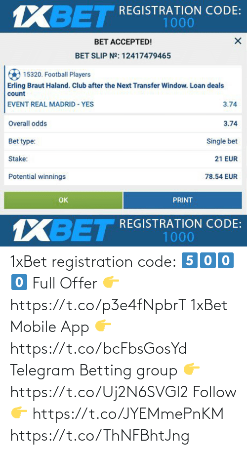 app: 1xBet registration code:  5⃣0⃣0⃣0⃣  Full Offer 👉 https://t.co/p3e4fNpbrT  1xBet Mobile App 👉 https://t.co/bcFbsGosYd  Telegram Betting group 👉 https://t.co/Uj2N6SVGl2  Follow 👉 https://t.co/JYEMmePnKM https://t.co/ThNFBhtJng