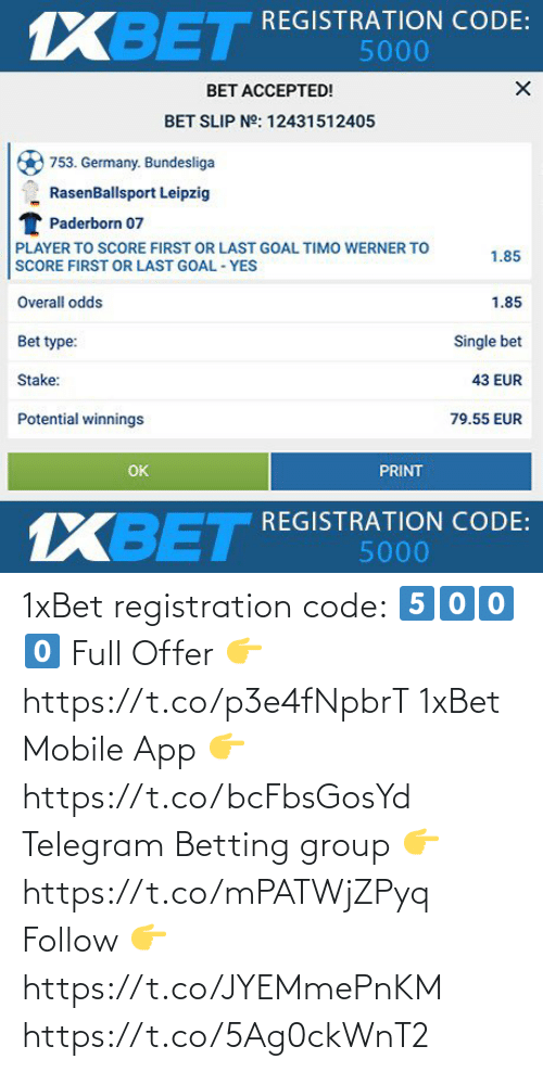 app: 1xBet registration code:  5⃣0⃣0⃣0⃣  Full Offer 👉 https://t.co/p3e4fNpbrT  1xBet Mobile App 👉 https://t.co/bcFbsGosYd  Telegram Betting group 👉 https://t.co/mPATWjZPyq  Follow 👉 https://t.co/JYEMmePnKM https://t.co/5Ag0ckWnT2