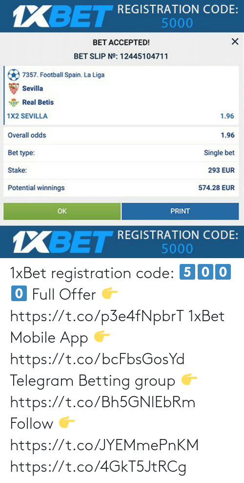 app: 1xBet registration code:  5⃣0⃣0⃣0⃣  Full Offer 👉 https://t.co/p3e4fNpbrT  1xBet Mobile App 👉 https://t.co/bcFbsGosYd  Telegram Betting group 👉 https://t.co/Bh5GNlEbRm  Follow 👉 https://t.co/JYEMmePnKM https://t.co/4GkT5JtRCg