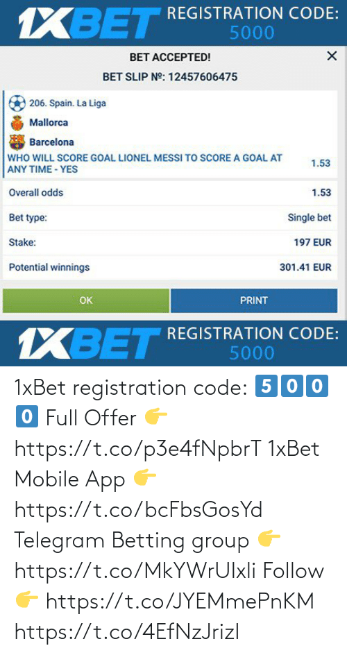 app: 1xBet registration code:  5⃣0⃣0⃣0⃣  Full Offer 👉 https://t.co/p3e4fNpbrT  1xBet Mobile App 👉 https://t.co/bcFbsGosYd  Telegram Betting group 👉 https://t.co/MkYWrUIxli  Follow 👉 https://t.co/JYEMmePnKM https://t.co/4EfNzJrizI