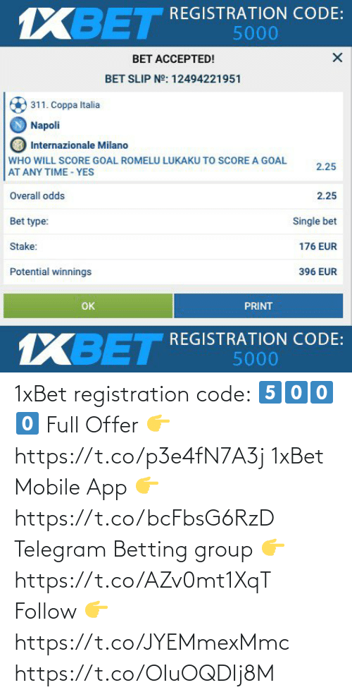 app: 1xBet registration code: 5️⃣0️⃣0️⃣0️⃣  Full Offer 👉 https://t.co/p3e4fN7A3j  1xBet Mobile App 👉 https://t.co/bcFbsG6RzD  Telegram Betting group 👉 https://t.co/AZv0mt1XqT  Follow 👉 https://t.co/JYEMmexMmc https://t.co/OIuOQDIj8M