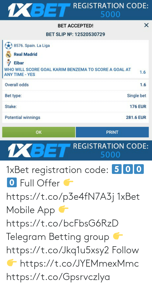 app: 1xBet registration code: 5️⃣0️⃣0️⃣0️⃣  Full Offer 👉 https://t.co/p3e4fN7A3j  1xBet Mobile App 👉 https://t.co/bcFbsG6RzD  Telegram Betting group 👉 https://t.co/Jkq1u5xsy2  Follow 👉 https://t.co/JYEMmexMmc https://t.co/GpsrvczIya