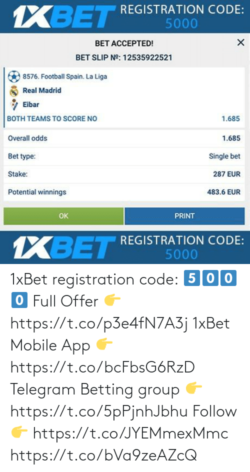 app: 1xBet registration code: 5️⃣0️⃣0️⃣0️⃣  Full Offer 👉 https://t.co/p3e4fN7A3j  1xBet Mobile App 👉 https://t.co/bcFbsG6RzD  Telegram Betting group 👉 https://t.co/5pPjnhJbhu  Follow 👉 https://t.co/JYEMmexMmc https://t.co/bVa9zeAZcQ