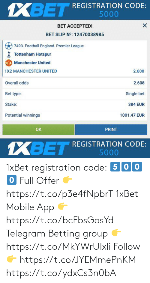 app: 1xBet registration code: 5️⃣0️⃣0️⃣0️⃣  Full Offer 👉 https://t.co/p3e4fNpbrT  1xBet Mobile App 👉 https://t.co/bcFbsGosYd  Telegram Betting group 👉 https://t.co/MkYWrUIxli  Follow 👉 https://t.co/JYEMmePnKM https://t.co/ydxCs3n0bA