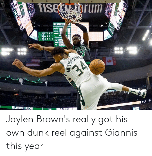 Dunk, Browns, and Got: 2  10:50 Jaylen Brown's really got his own dunk reel against Giannis this year
