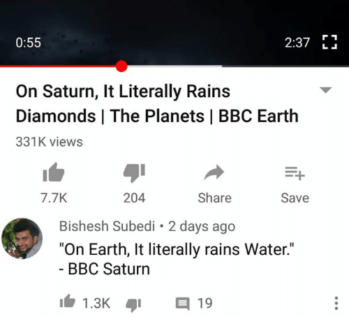 """Memes, Earth, and Planets: 2:37 E  0:55  L .  On Saturn, It Literally Rains  Diamonds 