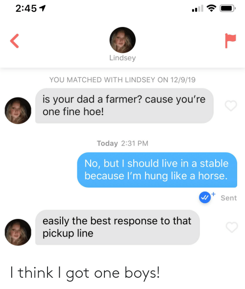 hung: 2:45 1  Lindsey  YOU MATCHED WITH LINDSEY ON 12/9/19  is your dad a farmer? cause you're  one fine hoe!  Today 2:31 PM  No, but I should live in a stable  because l'm hung like a horse.  Sent  easily the best response to that  pickup line I think I got one boys!