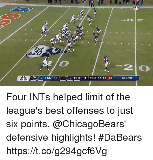 leagues: 2  I LAR 3  e4 CHI 3 2nd 11:17 :03  1st & 20 Four INTs helped limit of the league's best offenses to just six points.   @ChicagoBears' defensive highlights! #DaBears https://t.co/g294gcf6Vg