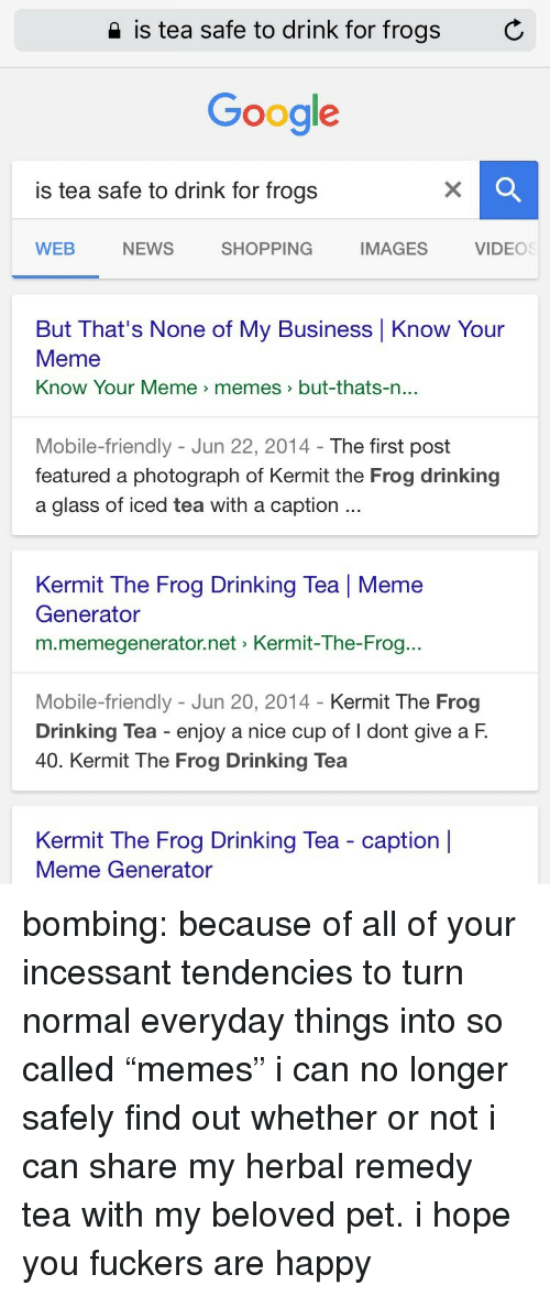 """know your meme: 2 is tea safe to drink for frogs  C  Google  is tea safe to drink for frogs  WEB  NEWS  SHOPPING  IMAGES  VIDEOS  But That's None of My Business Know Your  Meme  Know Your Meme > memes  >but-thats-n  ...  Mobile-friendly - Jun 22, 2014- The first post  featured a photograph of Kermit the Frog drinking  a glass of iced tea with a caption  Kermit The Frog Drinking Tea 