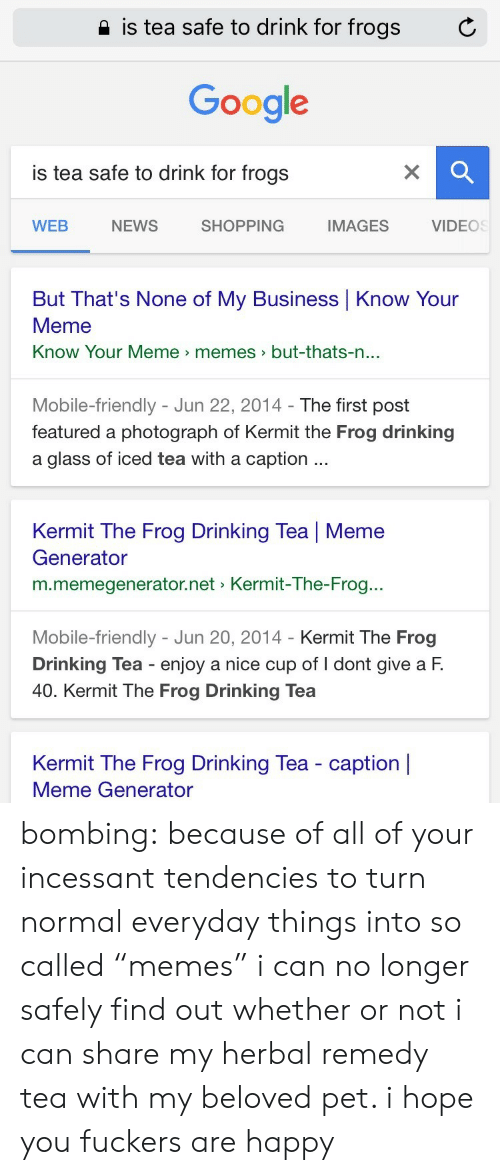 """know your meme: 2 is tea safe to drink for frogs  C  Google  is tea safe to drink for frogs  WEB  NEWS  SHOPPING  IMAGES  VIDEOS  But That's None of My Business Know Your  Meme  Know Your Meme memes>but-thats-n  ...  Mobile-friendly - Jun 22, 2014- The first post  featured a photograph of Kermit the Frog drinking  a glass of iced tea with a caption  Kermit The Frog Drinking Tea 