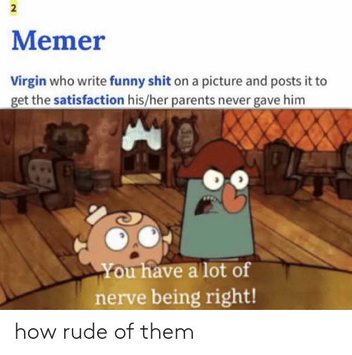 Funny, Parents, and Rude: 2  Memer  Virgin who write funny shit on a picture and posts it to  get the satisfaction his/her parents never gave him  You have a lot of  nerve being right! how rude of them
