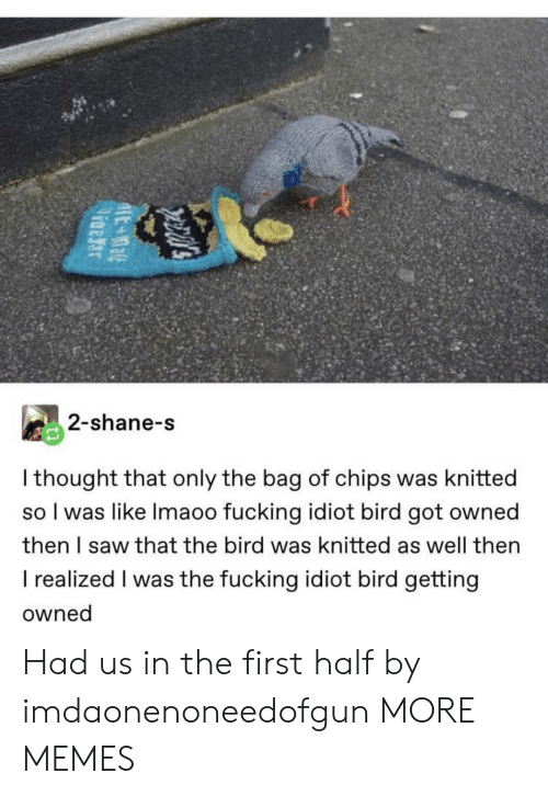 the bird: 2-shane-s  I thought that only the bag of chips was knitted  so I was like Imaoo fucking idiot bird got owned  then I saw that the bird was knitted as well then  I realized I was the fucking idiot bird getting  owned Had us in the first half by imdaonenoneedofgun MORE MEMES