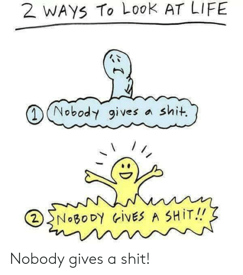 Life, Look, and Nobody: 2 WAYS To Look AT LIFE  Nobody gives  shit.  2NOBODY ivES A SHIT!! Nobody gives a shit!