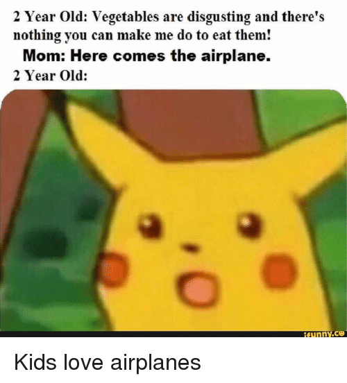 Love, Airplane, and Kids: 2 Year Old: Vegetables are disgusting and there's  nothing you can make me do to eat them!  Mom: Here comes the airplane.  2 Year Old: Kids love airplanes