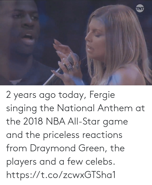NBA All-Star Game: 2 years ago today, Fergie singing the National Anthem at the 2018 NBA All-Star game and the priceless reactions from Draymond Green, the players and a few celebs.   https://t.co/zcwxGTSha1