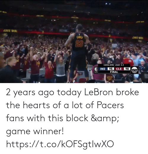 Game Winner: 2 years ago today LeBron broke the hearts of a lot of Pacers fans with this block & game winner!  https://t.co/kOFSgtIwXO