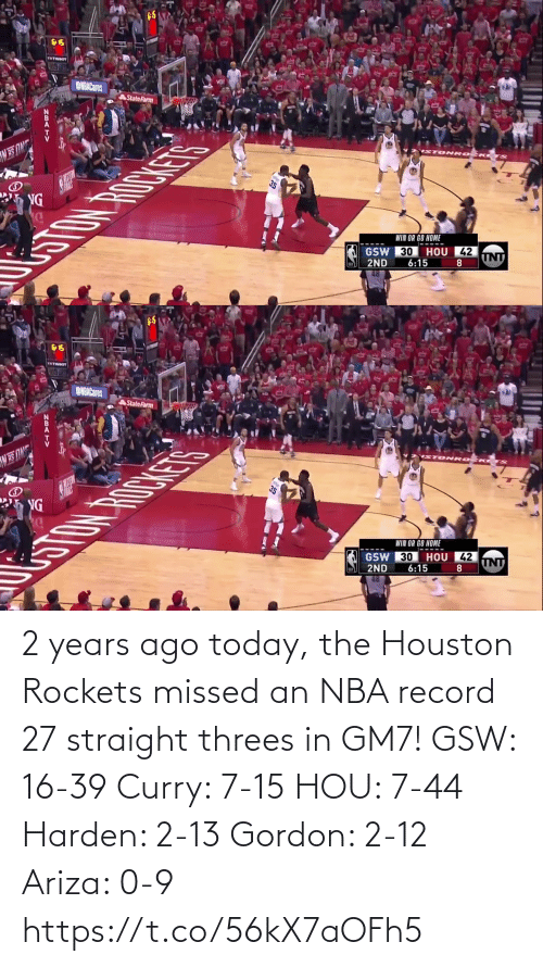 rockets: 2 years ago today, the Houston Rockets missed an NBA record 27 straight threes in GM7!   GSW: 16-39 Curry: 7-15  HOU: 7-44 Harden: 2-13 Gordon: 2-12 Ariza: 0-9  https://t.co/56kX7aOFh5