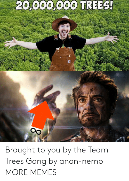 nemo: 20,000,000 TREES! Brought to you by the Team Trees Gang by anon-nemo MORE MEMES