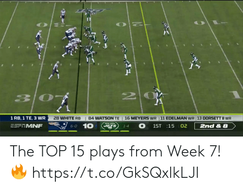 Jets: 20  | 84 WATSON TE  16 MEYERS WR 11 EDELMAN WR 13 DORSETT II WR  1 RB, 1 TE, 3 WR  28 WHITE RB  10  O  JETS  ESFTMNF  2nd & 8  1ST 15 02  6-0  1-4 The TOP 15 plays from Week 7! 🔥 https://t.co/GkSQxlkLJl