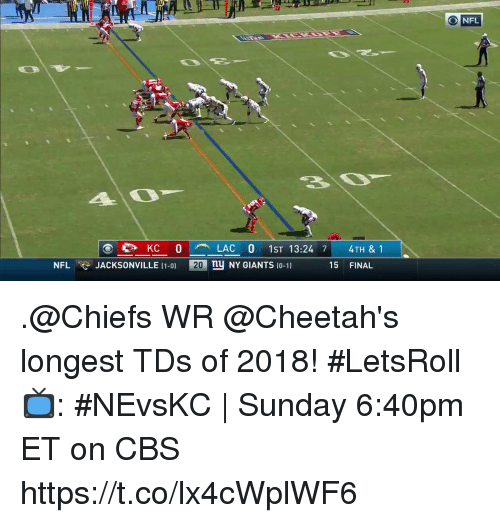 cheetahs: 20  NFL  KC 0LAC 0 1ST 13:24 7 4TH & 1  ny NY GIANTS 10-11  NFL  JACKSONVILLE (1-0)  20  15 FINAL .@Chiefs WR @Cheetah's longest TDs of 2018! #LetsRoll  📺: #NEvsKC | Sunday 6:40pm ET on CBS https://t.co/lx4cWplWF6