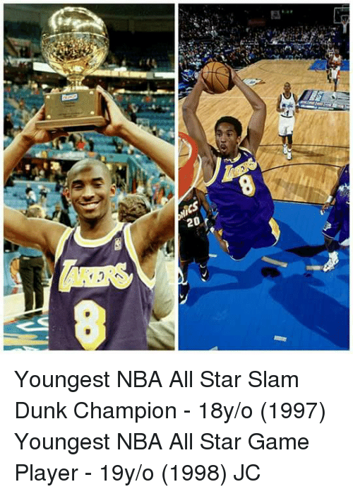 All Star, Dunk, and Memes: 20 Youngest NBA All Star Slam Dunk Champion - 18y/o (1997)  Youngest NBA All Star Game Player - 19y/o (1998)  JC