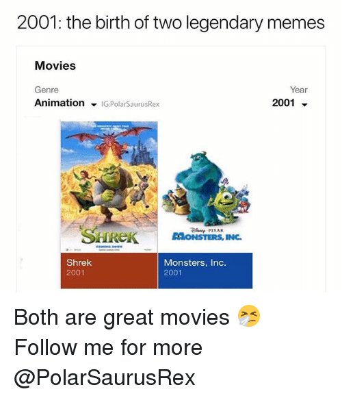 Memes, Monsters Inc, and Movies: 2001: the birth of two legendary memes  Movies  Genre  Animation ▼lGPolarSaurusRex  Year  2001 ▼  SHREKSTI  RAONSTERS, INC.  Shrek  2001  Monsters, Inc.  2001 Both are great movies 🤧 Follow me for more @PolarSaurusRex