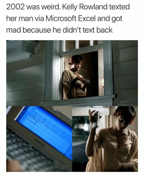 Microsoft, Microsoft Excel, and Weird: 2002 was weird. Kelly Rowland texted  her man via Microsoft Excel and got  mad because he didn't text back