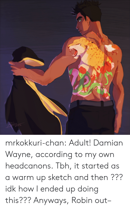 Wayne: 201 mrkokkuri-chan:  Adult! Damian Wayne, according to my own headcanons. Tbh, it started as a warm up sketch and then ??? idk how I ended up doing this??? Anyways, Robin out–