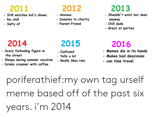 Af, Bad, and Chill: 2011  2012  2013  Still watches kid's shows  No chill  Salty af  Shouldn't exist but does  anyway  Chill dude  Anxious  - Donates to charity  - Parent Friend  - Great at parties  2014  2015  2016  cary forboding figure in  the street  Sleeps during summer vacation - Really likes rain  Drinks creamer with coffee  - Memes die in its hands  - Makes bad descisions  - can time travel  Confused  Yells a lot poriferathief:my own tag urself meme based off of the past six years. i'm 2014
