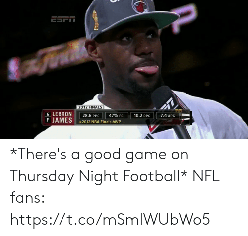ppg: 2012 FINALS  6 LEBRON  F JAMES  7.4 APG  10.2 RPG  47% FG  28.6 PPG  2012 NBA Finals MVP *There's a good game on Thursday Night Football*  NFL fans: https://t.co/mSmlWUbWo5