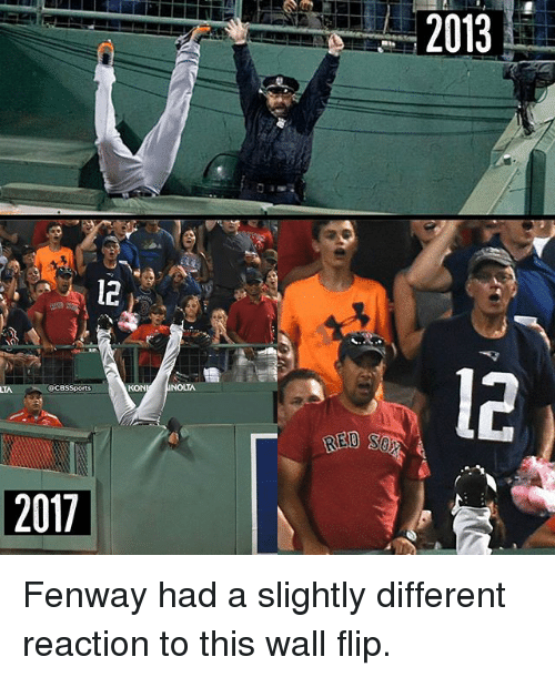 Cbssports: 2013  il  12  l2  CBSSports  KON  2017 Fenway had a slightly different reaction to this wall flip.
