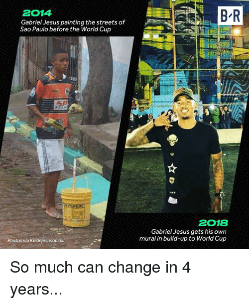 Sao Paulo: 2014  Gabriel Jesus painting the streets of  Sao Paulo before the World Cup  2018  Gabriel Jesus gets his own  mural in build-up to World Cup  Photos via IG/dejesusoficial So much can change in 4 years...