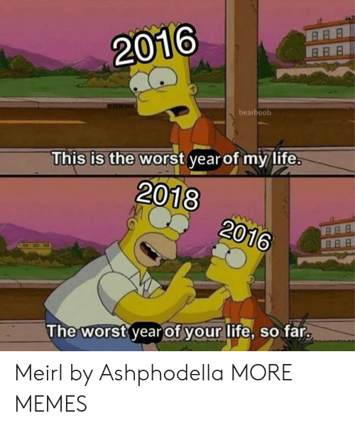 This Is The Worst: 2016  bearboob  This is the worst year of my life.  2018  2016  The worst year of your life, so far. Meirl by Ashphodella MORE MEMES