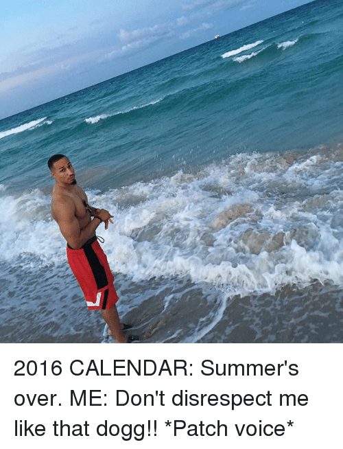 2016 Calendar: 2016 CALENDAR: Summer's over. ME: Don't disrespect me like that dogg!! *Patch voice*