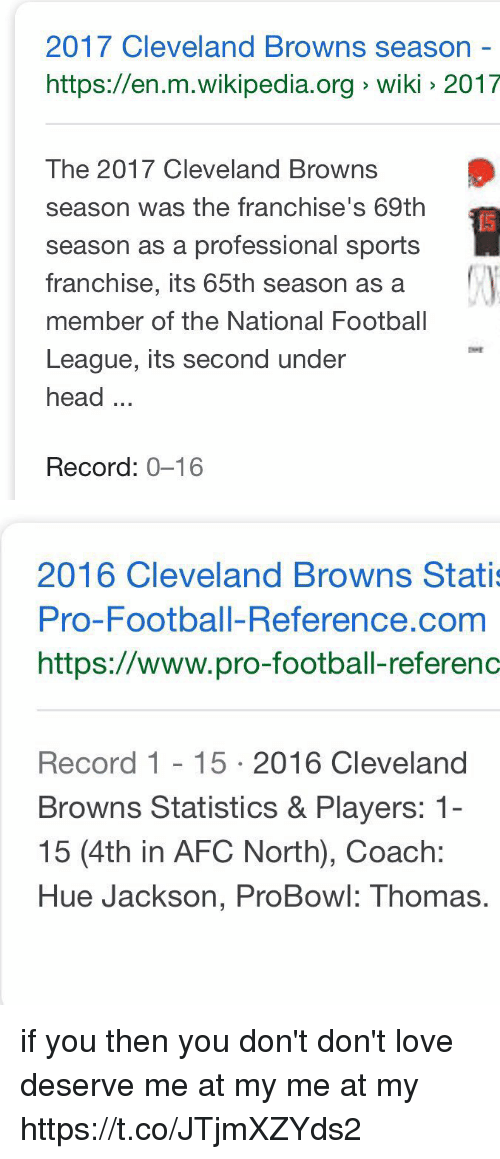 Cleveland Browns, Football, and Head: 2017 Cleveland Browns season -  https://en.m.wikipedia.org wiki 2017  The 2017 Cleveland Browns  season was the franchise's 69th  season as a professional sports  franchise, its 65th season as a  member of the National Football  League, its second under  head...  Record: 0-16   2016 Cleveland Browns Stati  Pro-Football-Reference.com  https://www.pro-football-referenc  Record 1 15 2016 Cleveland  Browns Statistics & Players: 1-  15 (4th in AFC North), Coach:  Hue Jackson, ProBowl: Thomas. if you                           then you don't  don't love                    deserve  me at my                     me at my https://t.co/JTjmXZYds2
